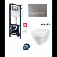 Комплект AM.PM: инсталляция с клавишей матовый. хром, унитаз Spirit, сиденье микролифт , , 29 990 руб., I012702/I014131/C701739SC, AM.PM, Инсталляции для унитазов