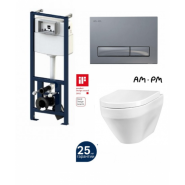 Комплект AM.PM: инсталляция с клавишей глянц. хром, унитаз Spirit, сиденье микролифт, , 29 900 руб., I012702/I014151/C701739SC, AM.PM, Инсталляции для унитазов