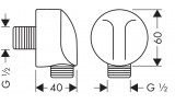 Шланговое подсоединение Hansgrohe Fixfit E,  хром, 27454000