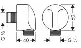 Fixfit E шланговое подсоединение, ½ ', с клапаном обратного тока воды Hansgrohe, 27458000