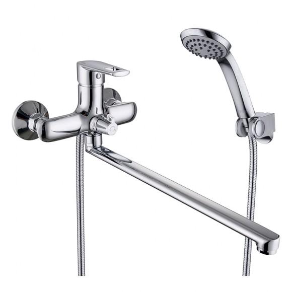 Смеситель для ванны с длинным изливом Iddis Runo, 384 мм, RUNSBL2i10