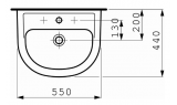 Раковина подвесная LAUFEN PRO, 550х440 мм, 8.1095.1.000.104.1