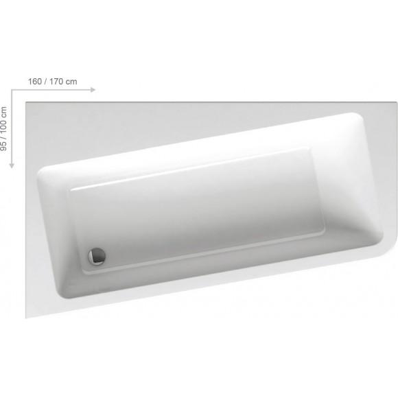 Ванна акриловая правая Ravak 10°, 170х100, C821000000